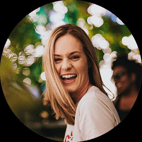 smile woman wht tshirt