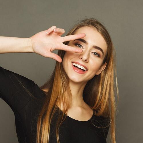 Cheerful Woman Gesturin