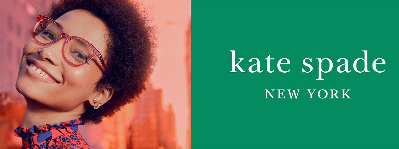 Eye doctor, woman wearing Kate Spade eyeglasses in Hartsdale, NY