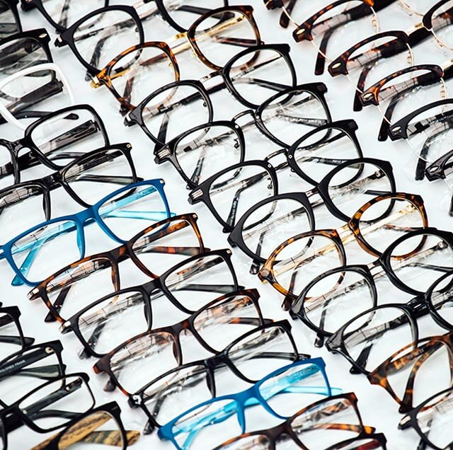 glasses on shelf