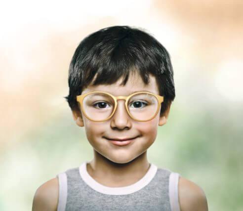 boy wearing hoya miyosmart lenses