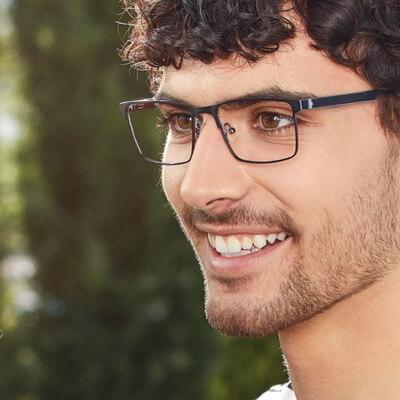 happy man wearing superflex eyeglasses