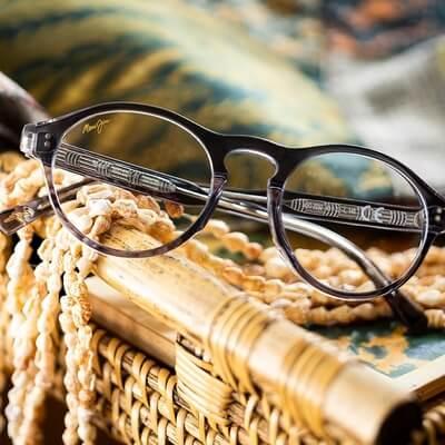 pair of round shaped maui jim eyeglasses