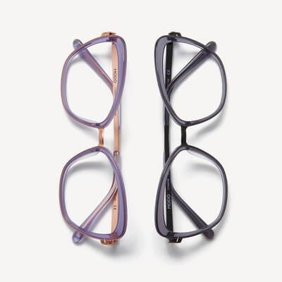 two pairs of modo eyeglasses