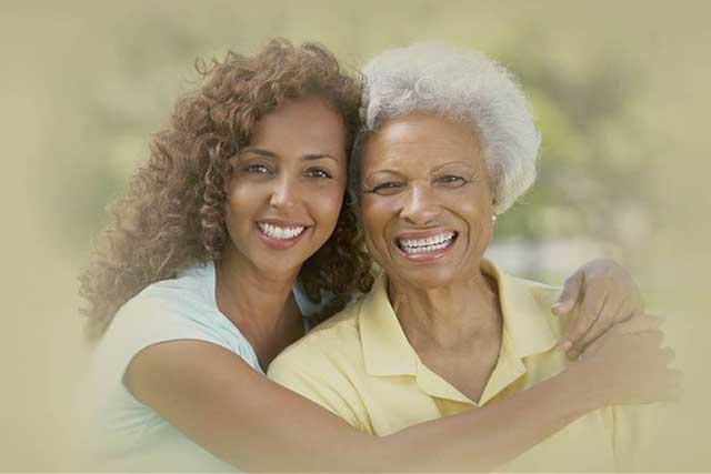 Woman hugging grandmother in Charlotte, NC