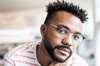 African American man wearing glasses
