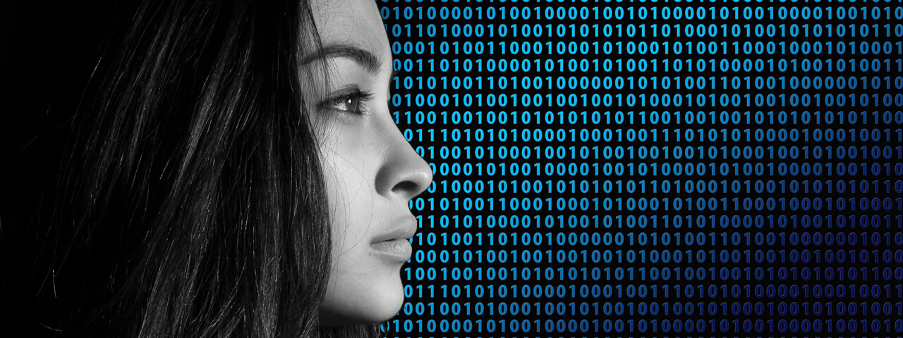 Woman looking into distance, binary code in background