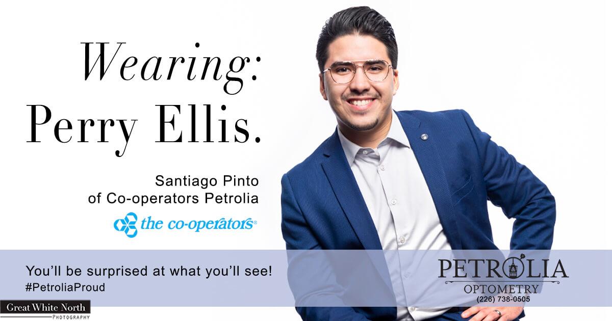 Man wearing Perry Ellis Eyeglasses