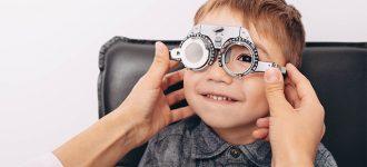 Eye doctor, little boy at an eye exam in Redwood City, CA