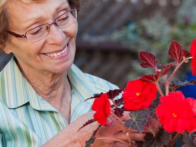 Eye Care, Senior Woman with Flowerpot in Rockville, NY.
