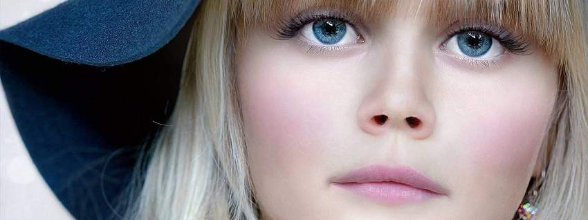 Girl Blue Eyes Serious