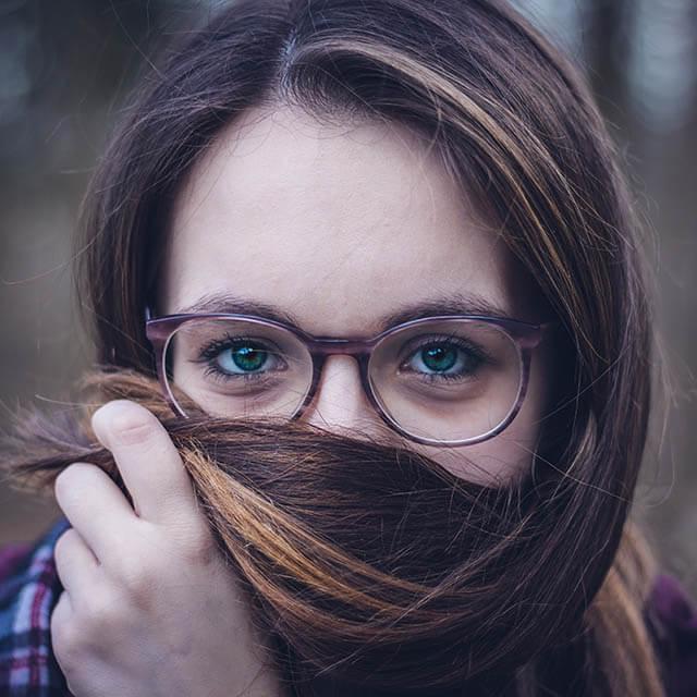 Girl wearing eyeglasses in Modesto