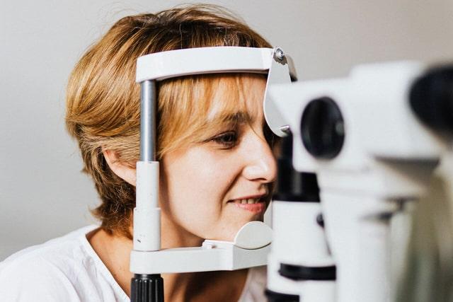 woman at an eye exam