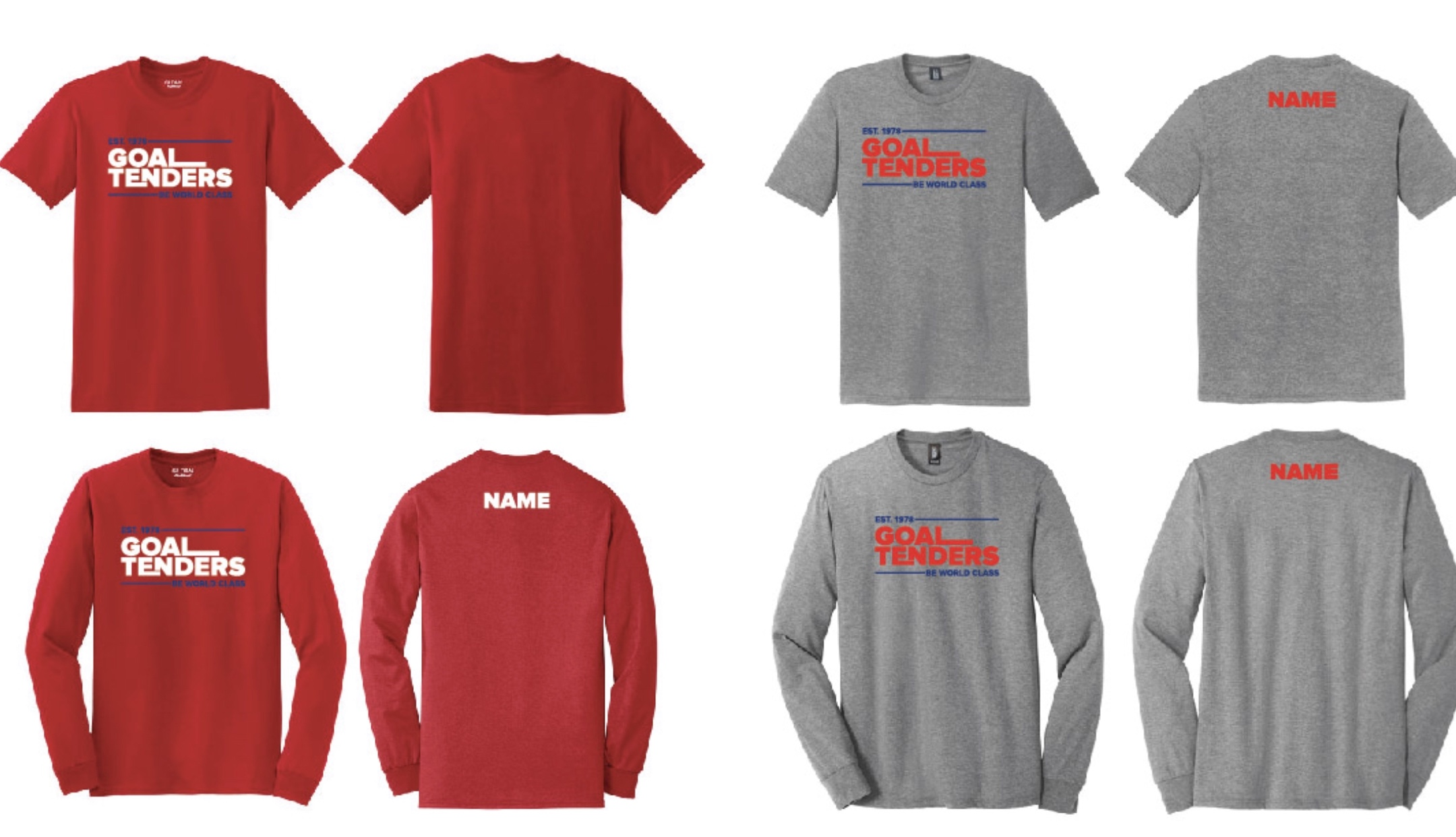Goal Tender t-shirts and spirit gear