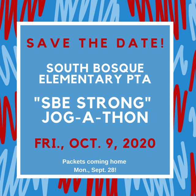 """South Bosque PTA Jog-A-Thon: """"SBE Strong"""""""