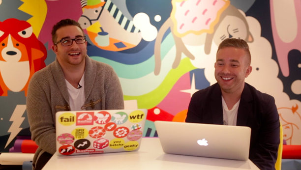 Charlie and Dan together at the BuzzFeed office.