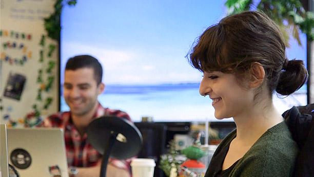 Emma Sarachan, Backend Developer, and Chris Kuzma, Computational Linguist, of IBM
