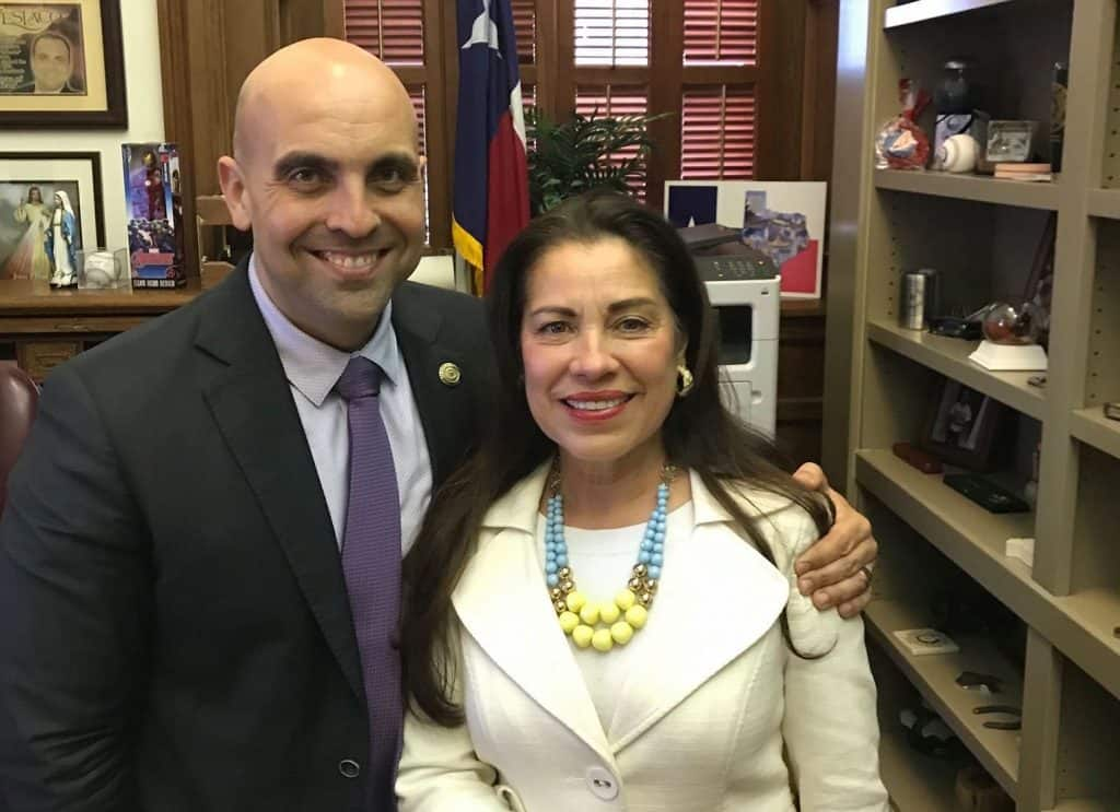 "Featured: Rep. Armando ""Mando"" Martínez, D-Weslaco, with Gloria Leal, Gloria Leal and Associates, on Tuesday, January 8, 2019, at the Valley lawmaker's office at the Texas Capitol, during the beginning of the 140-day regular session of the 86th Texas Legislature."