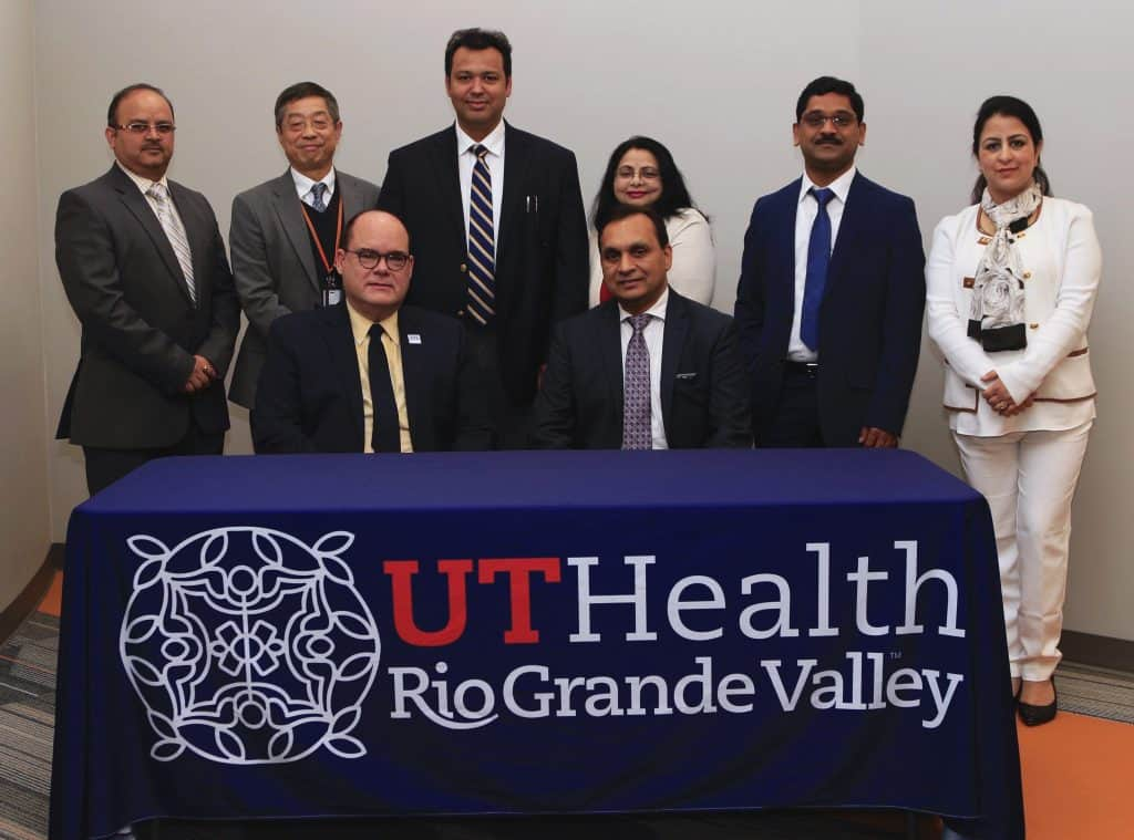 eatured, seated, from left: Dr. John H. Krouse, Executive Vice President for Health Affairs, University of Texas Rio Grande Valley and Dean, UTRGV School of Medicine, recently welcomed Dr. Subhash C. Chauhan, Ph.D. as Founding Director of the South Texas Center of Excellence in Cancer Research and Chair of the Department of Immunology and Microbiology at the UTRGV School of Medicine. Standing are members of Chauhan's team along with another UTRGV leader, featured from left: Dr. Manish Tripathi; Dr. Andrew Tsin, UTRGV Associate Dean of Research; Dr. Bilal Hafeez; Dr. Meena Jaggi; Dr. Murali Yallapu; and and Dr. Sheema Khan. The UTRGV School of Medicine recently welcomed its new cancer immunology team with a signing ceremony on Tuesday, April 9, 2019 at the UTRGV/UT Health RGV Biomedical Research Building, which is located on DHR Health's South Campus in McAllen. Photograph Courtesy THE UNIVERSITY OF TEXAS RIO GRANDE VALLEY SCHOOL OF MEDICINE