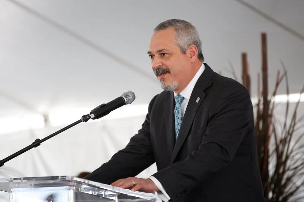 Dr. Carlos Cardenas, DHR Chief Administrative Officer & Chairman of the Board, speaks during the ground breaking for the UTRGV Research Building at DHR on Wednesday, Oct. 26, 2016 in McAllen, Texas. Doctors Hospital at Renaissance is partnering with UTRGV on this new facility. UTRGV Photo by Paul Chouy