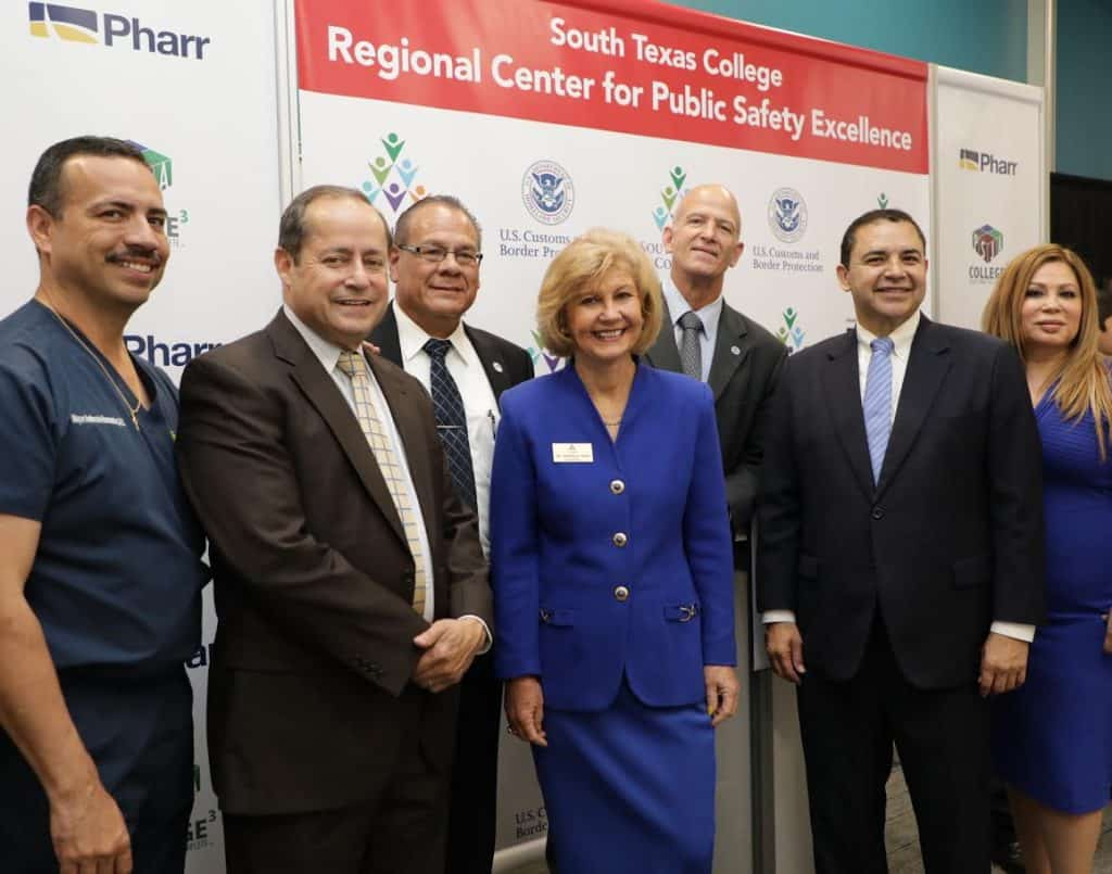 Featured, from left: Pharr Mayor Ambrosio Hernández, MD, and Chief Medical Compliance Officer, DHR Health; Dr. Daniel King, Superintendent, Pharr-San Juan-Alamo Independent School District; Dr. Shirley A. Reed, President, South Texas College; Víctor Pérez, Executive Director, Pharr Economic Development Corporation; Thomas J. Walters, Director of the Federal Law Enforcement Training Centers (FLETC); Congressman Henry Cuellar, D-Laredo; and Rose Benavidez, Vice Chair, Board of Trustees, South Texas College, and President, Starr County Industrial Foundation, on Wednesday, April 24, 2019 at the Regional Center for Public Safety Excellence (RCPSE) in Pharr. Photograph By PRISCILLA LOZANO