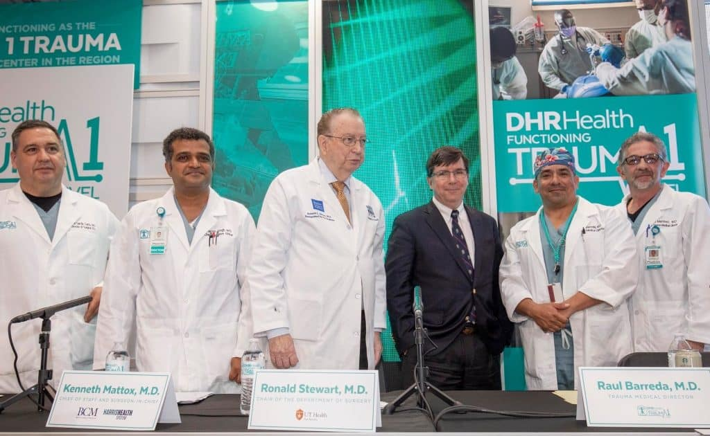 Featured, from left: Carlos García-Cantú, MD, Director of Surgery, DHR Health; Manish Singh, MD, Chief Executive Officer, DHR Health; Kenneth L. Mattox, MD, Distinguished Service Professor, Division of Cardiothoracic Surgery, Baylor College of Medicine, Chief of Staff and Surgeon-in-Chief, Ben Taub Hospital, Houston; Ronald M. Stewart, Chair, Department of Surgery, UT Health Science Center, San Antonio; Raúl Barreda, MD, Trauma Medical Director, DHR Health; and Ricardo Martínez, MD, Assistant Medical Director, General Surgery, DHR Health on Wednesday, May 1, 2019 at the Edinburg Conference Center at Renaissance. Photograph Courtesy DHR HEALTH