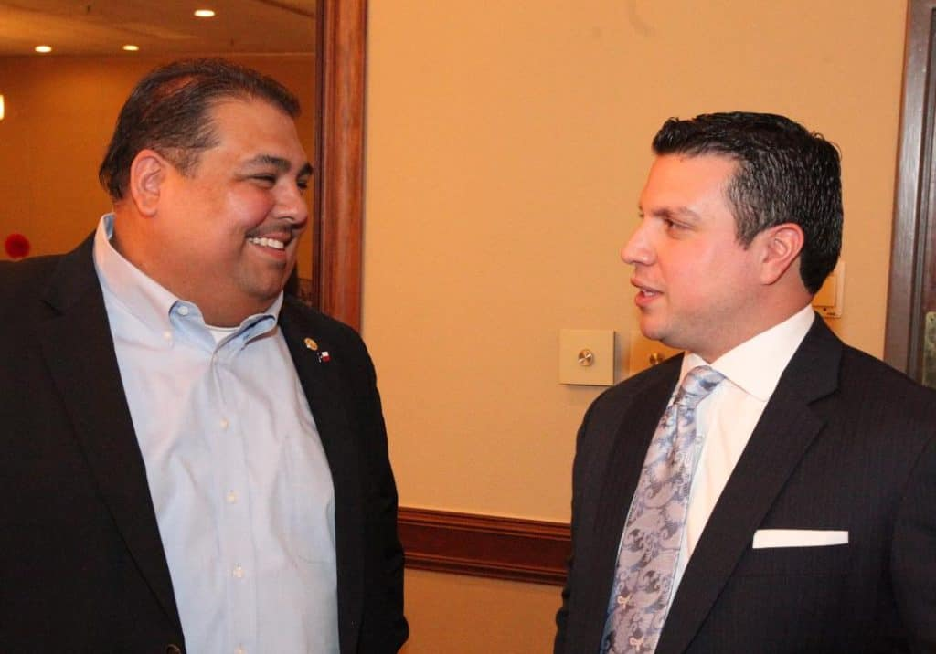 Featured, from left: Rep. Ryan Guillén, D-Rio Grande City, and Rep. Sergio Muñoz, D-Mission, on July 9, 2015 at the Double Tree Suites by Hilton Hotel in McAllen for the 84th Legislative Session Wrap-up Luncheon on Thursday, July 9, 2015 hosted by the McAllen Chamber of Commerce. Photograph By MARK MONTEMAYOR