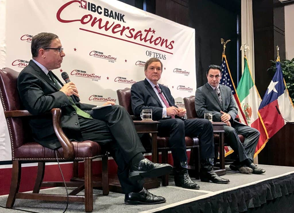 Featured, from left: Evan Smith, CEO and founder of the Texas Tribune, J. Bruce Bugg, Jr., Chairman, Texas Transportation Commission, and Rep. Terry Canales, D-Edinburg, Chair, House Committee on Transportation, during a live-streamed conversation from Austin on Tuesday, April 30, 2019. Photograph By CURTIS SMITH