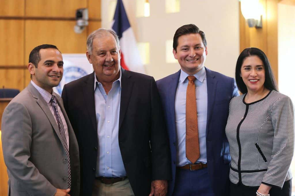 Featured, from left: Juan Guerra, Edinburg City Manager; Hidalgo County Judge Richard Cortéz; Omar Ochoa, Edinburg City Attorney; and Carla M. Rodríguez, Edinburg Assistant City Manager, in the City Council Chamber at Edinburg City Hall following a news conference on Friday, April 5, 2019.