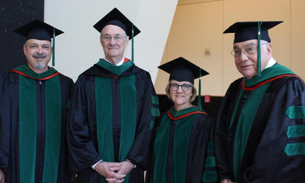 Featured, from left:  The University of Texas Medical Branch at Galveston Alumni Association on Friday, May 31, 2019, bestowed the Ashbel Smith Distinguished Alumnus Award upon the following leaders: Carlos J. Cárdenas, MD ('85); J. Gregory Stovall, MD ('78); Susan D. John, MD ('84); and Jack H. Henry, MD ('64). Not  appearing in this image, but also a recipient of the honor from the UTMB Alumni Association, is Bruce M. Bauknight, MD ('68).  Photograph Courtesy KURT E. KOOPMANN/UTMB ALUMNI RELATIONS