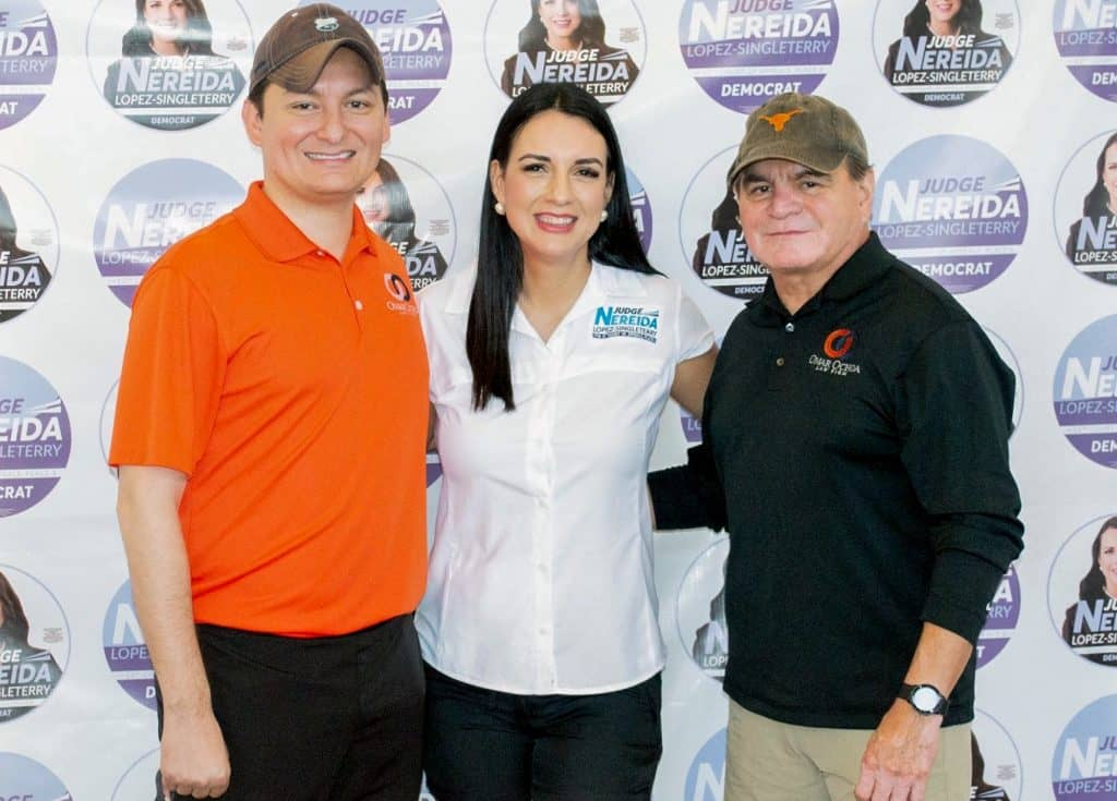 Featured, from left: Attorney Omar Ochoa of Edinburg/McAllen, Nereida López-Singleterry, the Associate Judge of the Title IV-D Master Court 1 in Hidalgo County, and former Edinburg Mayor Joe Ochoa on Saturday, September 21, 2019, at Tierra Santa Golf Course in Weslaco.  Photograph By PETER SALINAS