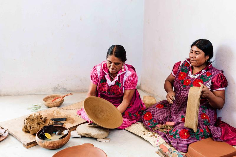 Oaxacan artisans crafting St. Frank pieces; courtesy St. Frank