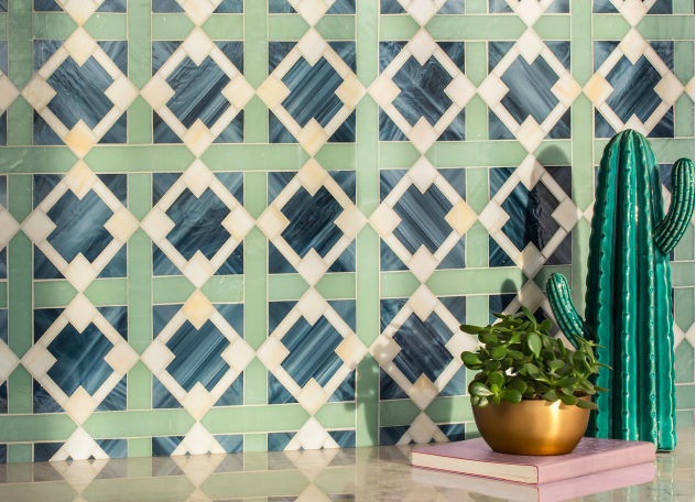 Kubuni, a waterjet jewel glass mosaic from the J. Banks andNew Ravenna collection; courtesy New Ravenna