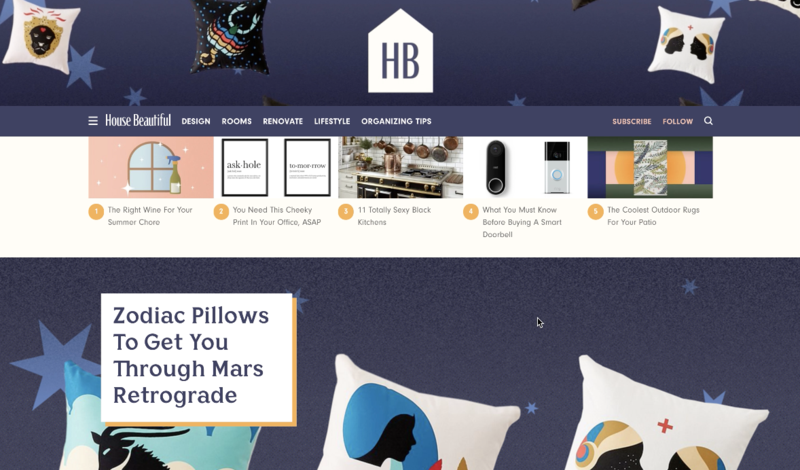 House Beautiful's new homepage; courtesy House Beautiful