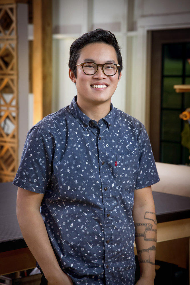 Contestant Khiem Nguyen, who owns a woodworking brand. Image courtesy of Paul Drinkwater/NBC.
