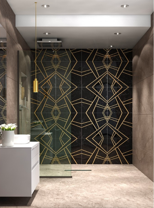 Empire Nero Marble & Brass Tile; courtesy Tile Bar