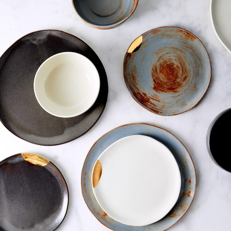 Handmade Gold-Dipped Dinnerware by FisheyeBrooklyn; photography by Ty Mecham, Jenny Huang