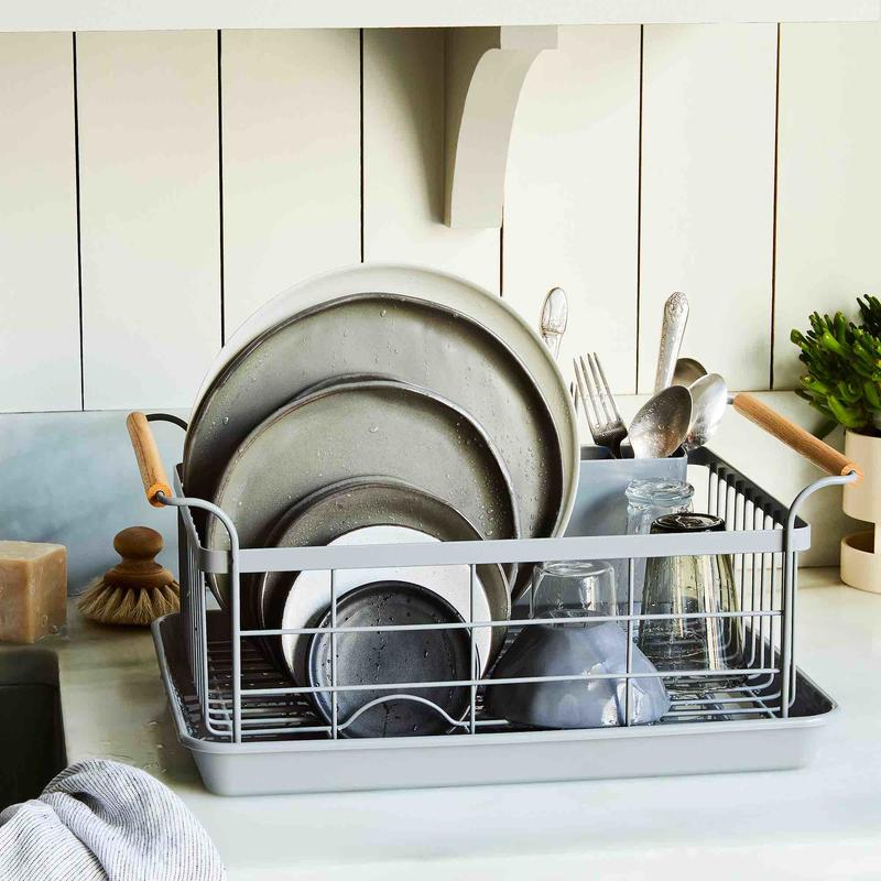 The Wood-Handled Dish Rack by Yamazaki Home; photography by Rocky Luten and James Ransom
