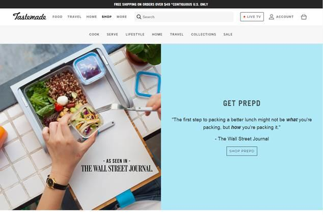 Tastemade's current homepage features product given the seal of approval by the WSJ; courtesy of Tastemade