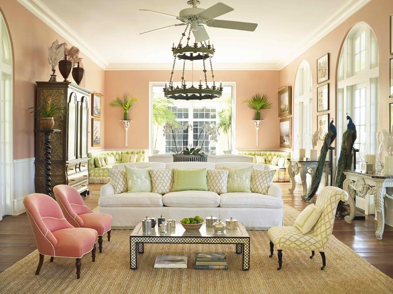 "The drawing room of ""Bayview,"" a home for private clients on Lyford Cay"