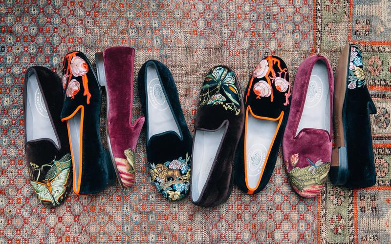 John Derian's embroidered slippers