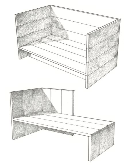 Single Daybed 32 and Wintergarten Bench 16, drawn by Claude Armstrong