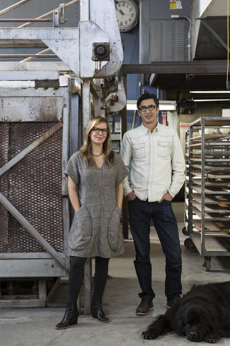 Catherine Bailey and Robin Petravic at Heath's Sausalito Factory