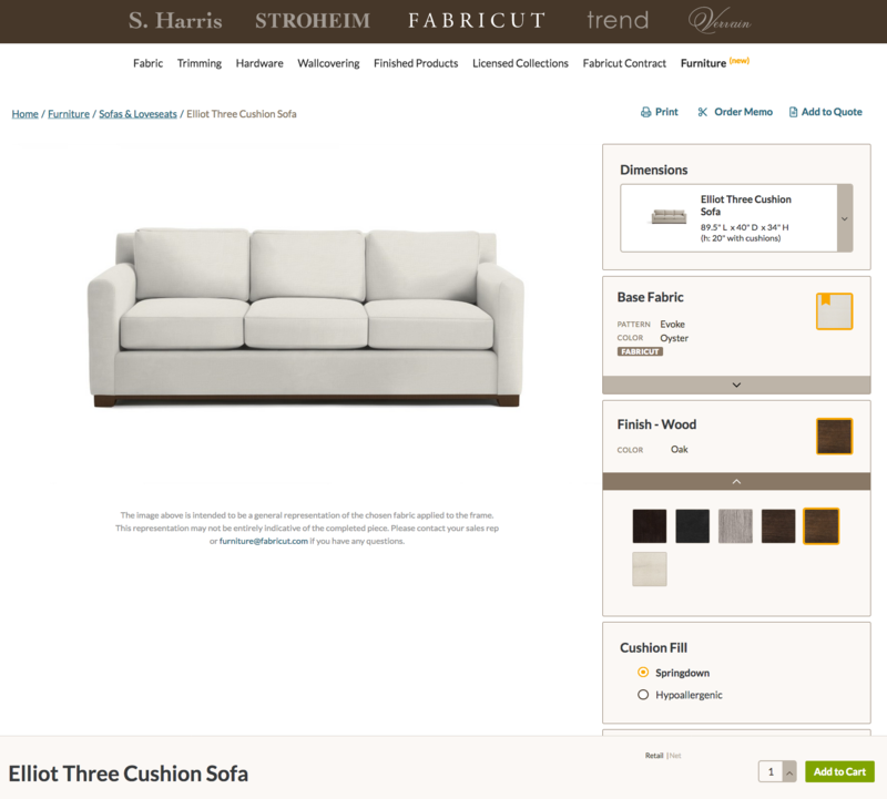 Fabricut's new online ordering platform. Prices will only be available to designers.