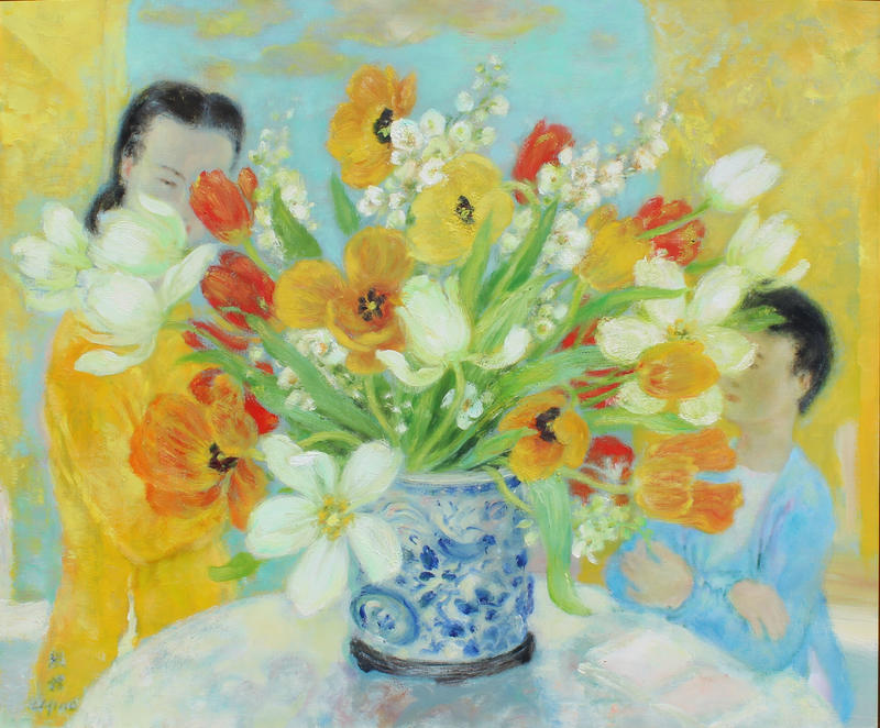 A Findlay Galleries painting by Vietnamese painter Le Pho