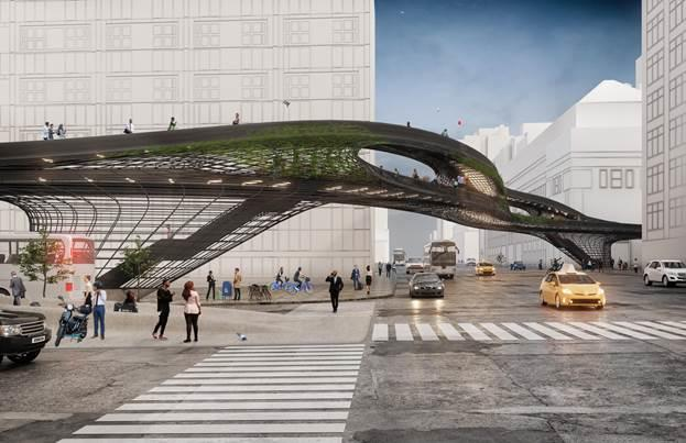 The DXA Studio urban pathway rendering