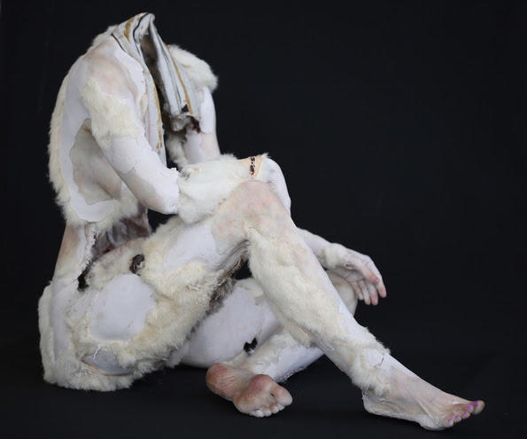 Monica Cook, Snowsuit, 2015. Aqua resin, wax, pigment, fur coats, fiberglass.