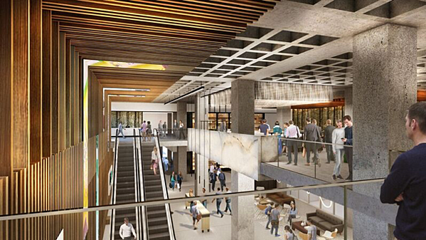 A rendering of the new lobby at AmericasMart Building 1.
