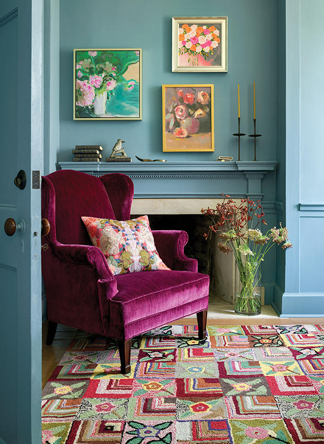 Selke's Lismore chair and Gypsy Rose rug.