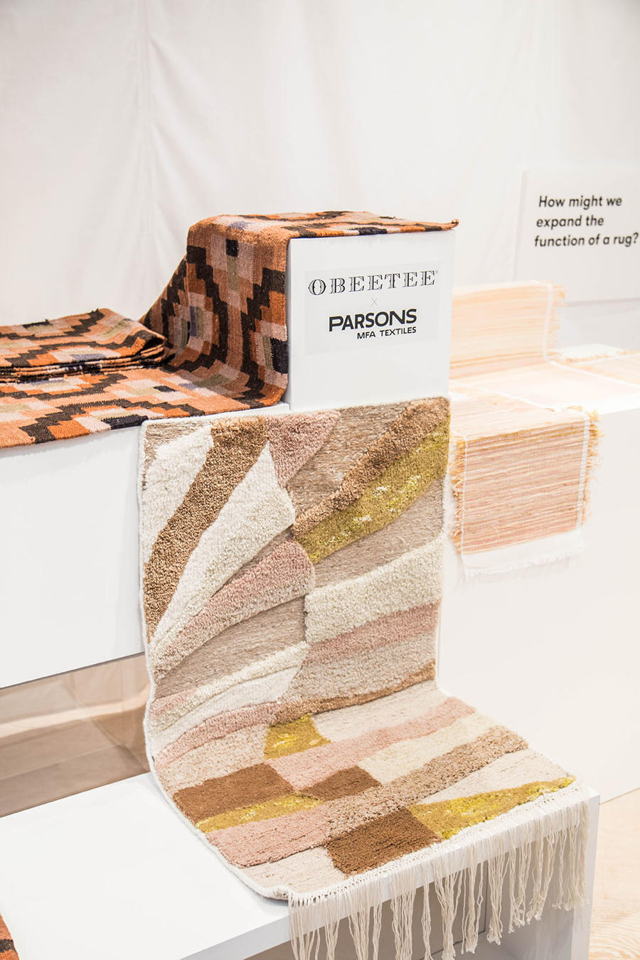 The exhibition of the Obeetee rugs that Parsons students designed.